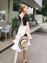 skirt Spring 2020 XS S M L XL Apricot Mid length dress commute High waist Cake skirt Solid color Type A 25-29 years old More than 95% ZK polyester fiber Ruffle zipper stitching lady Polyester 100%