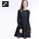 Dress Spring of 2019 Red 1 Black 1 S M L XL Short skirt singleton  Long sleeves commute Crew neck High waist Solid color zipper A-line skirt routine Breast wrapping 25-29 years old Type X ZK Simplicity Zipper wave resin stitching pocket outletsQ760929061 81% (inclusive) - 90% (inclusive)