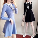 Dress Autumn of 2019 Black blue S M L XL Middle-skirt singleton  Long sleeves commute Doll Collar High waist Solid color Socket A-line skirt Lotus leaf sleeve 25-29 years old Type A Su Nian Korean version Splicing h0341 More than 95% other Other 100.00% Pure e-commerce (online only)