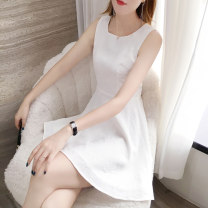 Dress Summer of 2019 white S M L XL XXL Mid length dress singleton  Sleeveless commute Crew neck High waist Solid color zipper A-line skirt other Others 25-29 years old Type A Su Nian Ol style zipper More than 95% Chiffon other Other 100% Pure e-commerce (online only)