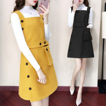 Dress Autumn of 2018 Yellow single strap skirt black single strap skirt yellow (sweater and skirt) black (sweater and skirt) S M L XL 2XL Short skirt Two piece set Sleeveless commute other High waist Solid color Single breasted Princess Dress straps 25-29 years old Type H Su Nian Korean version h068