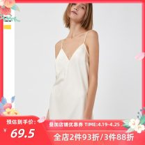 Nightdress PJM Champagne allures black S M L sexy camisole Leisure home Short skirt summer Solid color youth V-neck Polyester (polyester) One piece More than 95% Seldingham X3518D 200g and below Summer of 2019 Polyester 100% Pure e-commerce (online only)