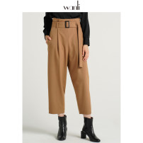 Casual pants Black dark camel dark green 155/60A/S 160/64A/M 165/68A/L 170/72A/XL Autumn of 2019 Ninth pants Haren pants High waist commute routine 25-29 years old 91% (inclusive) - 95% (inclusive) Wanli (clothing) polyester fiber Ol style belt polyester fiber Exclusive payment of tmall