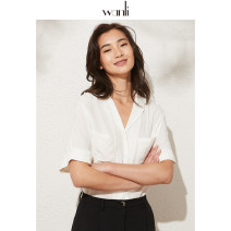 shirt White black beige blue XS S M L XL Summer 2020 Viscose 96% and above Short sleeve Versatile Regular tailored collar Solid color 25-29 years old Straight cylinder Wanli (clothing) Viscose (viscose) 100%