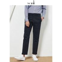 Casual pants Wanli (clothing) Fashion City Navy Black XS XXL S M L XL routine trousers go to work Straight cylinder Micro bomb Four seasons youth Business Casual 2020 middle-waisted Straight cylinder Cotton 98% polyurethane elastic fiber (spandex) 2% Pocket decoration Sanding Solid color cotton