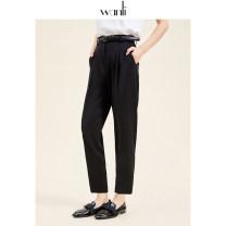 Casual pants black S M L Spring 2020 Ninth pants Straight pants Natural waist Wanli (clothing) Polyester 100%