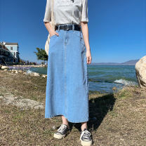 skirt Spring 2021 M L XL XXL XXXL blue Mid length dress commute High waist A-line skirt Solid color Type A 18-24 years old RMM2021022308 More than 95% Denim Let me know polyester fiber pocket Korean version Polyester 100% Pure e-commerce (online only)