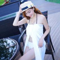 Bikini Independent brand Three piece white with drape, three piece black with drape M,L,XL Triangle Bikini Steel strap breast pad Nylon, spandex