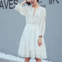 Women's large Summer of 2019, spring of 2019, autumn of 2019 white Large XL, large XXL, large XXL, large XXXXL, large L Dress singleton  commute easy moderate Socket Long sleeves Solid color Korean version other Medium length Cotton, others Three dimensional cutting routine A393 25-29 years old
