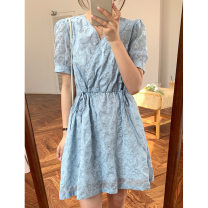Dress Summer 2021 Apricot short, blue short, light yellow fishtail, blue fishtail S, M Short skirt Short sleeve V-neck High waist other A-line skirt puff sleeve Others 18-24 years old Type X majekoce Collage / stitching 51% (inclusive) - 70% (inclusive) other cotton