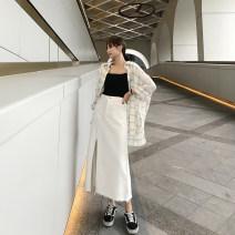skirt Spring 2021 S. M, l, XL, hip too small, please refer to the size table hip size white longuette commute High waist Denim skirt Solid color Type H 18-24 years old cotton Korean version