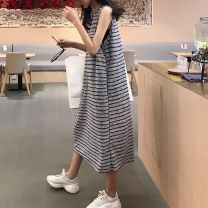 Dress Yuexu grey M L XL XXL Korean version Sleeveless have more cash than can be accounted for summer Crew neck stripe Pure cotton (95% and above) Q1PZ6_ one trillion and six hundred and fifteen billion five hundred and forty-three million three hundred and twenty-nine thousand four hundred and nine