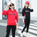 suit Yingkeren Red and black 110cm 120cm 130cm 140cm 150cm 160cm 170cm female spring and autumn leisure time Long sleeve + pants 2 pieces routine There are models in the real shooting Socket No detachable cap other Cotton blended fabric children Giving presents at school H6501 Class B Other 100%