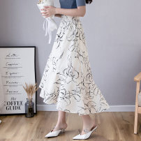 skirt Summer 2020 Average size Black Beige Mid length dress commute Natural waist Cake skirt Broken flowers Type A 25-29 years old More than 95% Chiffon AI Fanzhe polyester fiber Korean version Polyester 100% Exclusive payment of tmall
