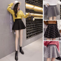 skirt Autumn of 2018 S M L XL 2XL Black grey black check grey check Short skirt Versatile High waist Fluffy skirt Solid color 18-24 years old XYG6175-A1 Wool AI Fanzhe Pure e-commerce (online only)