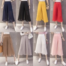 Casual pants Ginger gray Pink Red Navy black Khaki S M L XL Summer 2020 Cropped Trousers Wide leg pants High waist commute routine 18-24 years old 31% (inclusive) - 50% (inclusive) EtGTS Flower chrysanthemum other Korean version Lotus leaf edge Other 100.00%