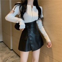 skirt Spring 2021 S. M, l, average size Black skirt pants, black top Short skirt commute High waist A-line skirt Solid color Type A 18-24 years old 81% (inclusive) - 90% (inclusive) PU Pocket, button, asymmetric, three-dimensional decoration Korean version