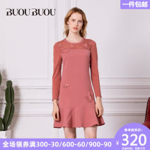 Dress Autumn of 2018 Orange Y28 155/S 160/M 165/L 170/XL 175/XXL Mid length dress singleton  Nine point sleeve commute Crew neck middle-waisted Solid color zipper routine 35-39 years old Type X Buou Buou lady DE3G051 More than 95% polyester fiber Polyester 100%
