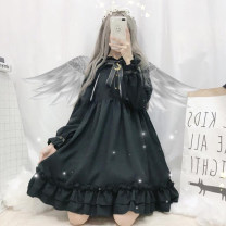 Dress Autumn of 2018 Black long sleeve, black short sleeve S,M,L Middle-skirt singleton  Long sleeves Sweet Crew neck middle-waisted Solid color Socket Ruffle Skirt bishop sleeve Others 18-24 years old Type A Other / other Bows, ruffles, bandages 30% and below polyester fiber solar system
