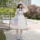 Dress Autumn of 2019 Haze blue, lilac Average size longuette singleton  Sleeveless Sweet High waist Cartoon animation A-line skirt camisole 18-24 years old Type A Other / other Bowknot, stitching Lolita