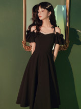 Dress / evening wear Weddings, adulthood parties, company annual meetings, daily appointments XS S M L XL XXL Sweet Medium length Autumn 2020 A-line skirt Sling type zipper Sleeve application Other 100% Pure e-commerce (online only)