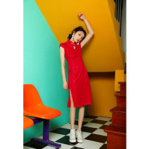 cheongsam Summer of 2019 M L XL XXL XXXL Short sleeve long cheongsam grace Low slit banquet 18-25 years old Wen Qing other Other 100% Pure e-commerce (online only)