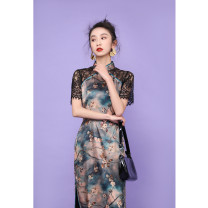 cheongsam Spring 2020 M L XL XXL XXXL Brown hollow out b8346 Short sleeve long cheongsam grace Low slit banquet Oblique lapel Decor 25-35 years old Piping B8346 Wen Qing other Other 100% Pure e-commerce (online only)