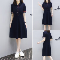 Dress Summer of 2019 Black Navy S M L XL 2XL 3XL Mid length dress singleton  Short sleeve street Polo collar Loose waist routine 25-29 years old Type A Depressed Butterfly 6polo2 81% (inclusive) - 90% (inclusive) cotton Cotton 90% polyurethane elastic fiber (spandex) 10% Sports & Leisure