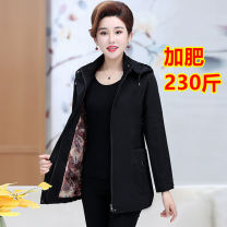 Middle aged and old women's wear Spring of 2019, autumn of 2019 Black fattening, red fattening, green fattening fashion Jacket / jacket easy singleton  Solid color 50-59 years old Cardigan moderate Hood Medium length routine pocket Others, cotton zipper