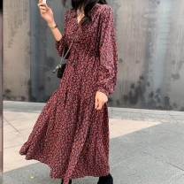 Dress Spring 2020 B86-g-red S,M,L,XL longuette singleton  Long sleeves commute V-neck High waist Decor Socket Big swing bishop sleeve Others 25-29 years old Type A Other / other printing O3741 other
