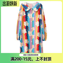 Nightdress wowpink Rainbow bear, 23-83009 apricot, 22-63008 gray, 22-63008 green, 21-83016 gray M (length 100, bust 120), l (length 102, bust 124), one size M (length 96, bust 104) Cartoon Long sleeves Leisure home longuette autumn Cartoon animation youth Crew neck cotton printing More than 95% 200g