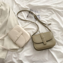 Bag The single shoulder bag PU Saddle bag brand new Retro Small leisure time soft Cover type no Solid color Single root One shoulder cross nothing youth Saddle shape Sewing Soft handle synthetic leather inside pocket with a zipper soft surface