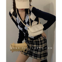 Bag The single shoulder bag PU diamond pattern chain bag brand new Japan and South Korea Small leisure time soft Magnetic buckle no Solid color Single root One shoulder cross nothing youth Horizontal square chain polyester fiber Certificate bag soft surface