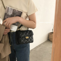 Bag The single shoulder bag PU Small square bag White, red, black brand new Japan and South Korea Small leisure time soft Buckle no Solid color Double root One shoulder cross carry nothing youth Horizontal square Rhombic grid Chain handle synthetic leather inside pocket with a zipper soft surface
