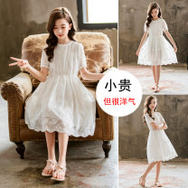 Dress White princess skirt Short Sleeve White princess skirt + pearl diamond hairband white princess skirt + bow straw hat size - not too small female EC.Song/ Sonich Cotton 95% other 5% summer Korean version Short sleeve Solid color cotton A-line skirt QZ-180 Class B Summer 2020 Chinese Mainland