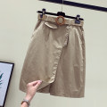 skirt Summer 2020 M,L,XL,2XL Black, blue, khaki, brick red Middle-skirt commute High waist A-line skirt Solid color xnn5659 other other Korean version
