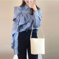 shirt Blue stripe S M L XL Spring 2021 polyester fiber 96% and above Long sleeves commute Regular Polo collar Single row multi button routine stripe 18-24 years old Straight cylinder Fan yiqixiu 21F69 Button Polyester 100% Pure e-commerce (online only)