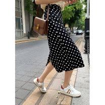 skirt Summer 2021 S, M black Mid length dress commute High waist A-line skirt Dot Type A 18-24 years old 30% and below other Amiluck other zipper Korean version