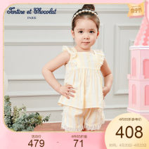 suit Tartine et chocolat yellow 01A 02A 03A 04A 05A 06A female summer princess Short sleeve + pants 2 pieces stripe CICZB6446K Class A Viscose (viscose) 51.1% cotton 48.4% others 0.5% 12 months 18 months 2 years 3 years 4 years