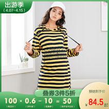 Dress Bornbay yellow M L XL leisure time Long sleeves Medium length autumn other stripe 95% cotton 5% spandex