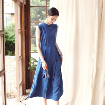 Dress Summer 2020 indigo S. M, l, XL, custom longuette singleton  Sleeveless commute stand collar middle-waisted Abstract pattern Socket Pleated skirt Type X LanJin Retro More than 95% other