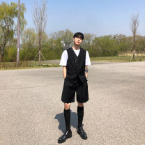 Vest / vest Youth fashion Others M,L,XL Grey vest, black vest, grey shorts, black shorts Other leisure standard Vest routine summer V-neck youth 2020 Exquisite Korean style Solid color