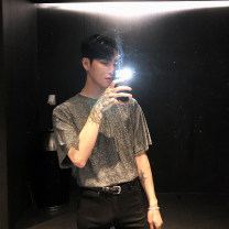 T-shirt Youth fashion silvery thin M,L,XL Others Short sleeve Crew neck easy daily summer youth routine Exquisite Korean style 2020 Solid color