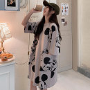 Women's large Summer 2020 Lotus root pink gray white M L XL Dress singleton  commute easy thin Socket elbow sleeve Cartoon animation Korean version Crew neck Medium length cotton printing and dyeing twenty thousand two hundred and six point one zero Xuan duo Ni 18-24 years old