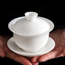 Cover bowl Overglaze ceramics Dehua County Self made pictures yes Solid color