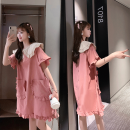 Women's large Summer 2020 Pink - pay attention to store priority delivery, yellow - pay attention to store priority delivery Large L, large XL, large XXL, M Dress singleton  commute easy moderate Socket Short sleeve Korean version Lotus leaf collar cotton Other / other Medium length