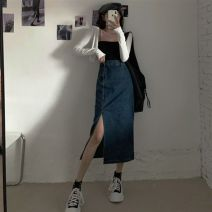 Women's large Spring 2021 Blue, black and gray Large L , Large XL , Large 4XL , Large 3XL , M , Large 2XL skirt singleton  commute easy moderate Solid color Korean version Denim Three dimensional cutting twenty million two hundred and fifteen thousand five hundred and sixty-six # Other / other