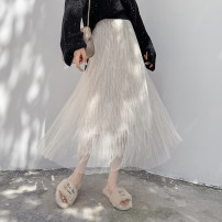skirt Spring 2020 Average size White, blue, black Mid length dress Versatile High waist Pleated skirt Solid color Type A 18-24 years old 91% (inclusive) - 95% (inclusive)