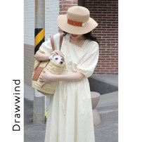 Dress Summer 2021 Black, yellow, blue S,M,L Mid length dress singleton  Short sleeve commute square neck High waist Solid color Socket A-line skirt puff sleeve 18-24 years old Type A DRAWWIND L430 More than 95% cotton