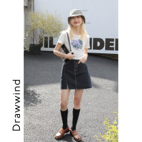 skirt Spring 2021 S,M,L black Short skirt commute High waist A-line skirt Solid color Type A 18-24 years old Q308 81% (inclusive) - 90% (inclusive) DRAWWIND cotton